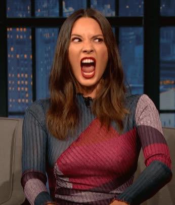 angry, late night with seth meyers, olivia munn, scream, Olivia Munn Does an Impression of Seth's Dog GIFs