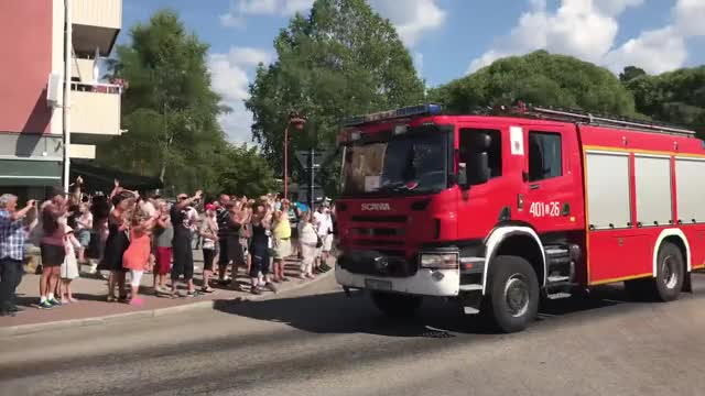 Watch and share Polish Firetrucks Arriving In Sweden GIFs by chompa11 on Gfycat