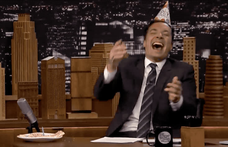 awesome, bday, birthday, celebrate, clap, cone, epic, excited, fallon, funny, haha, happy, happy birthday, hat, hilarious, jimmy, lol, party, show, tonight, Jimmy is happy for his birthday GIFs