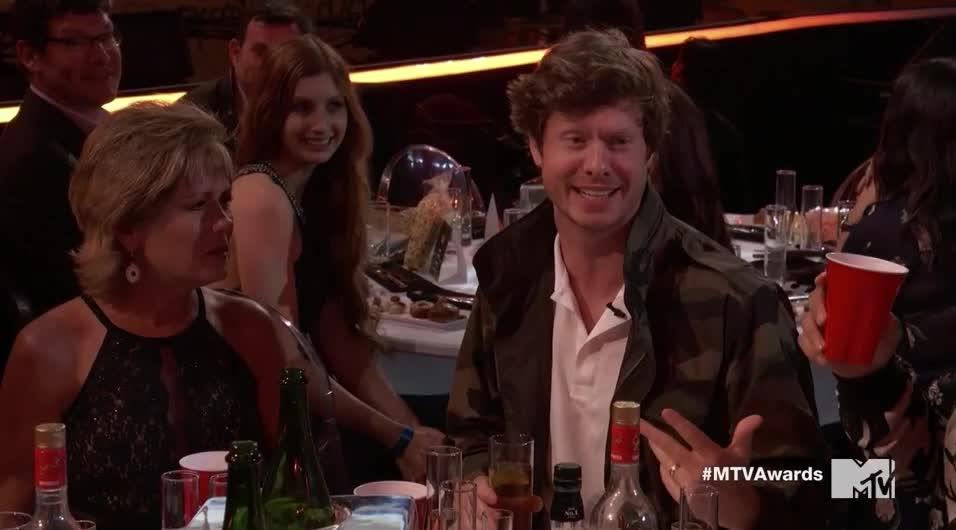 MTV Awards, MTVAwards, cheers, cool moms, drink, laugh, toast, Adam Devine's Mom Toast GIFs