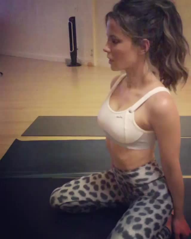 Kate Beckinsale, KateBeckinsale, aww, celebs, cute, exercise, fitness, goat, workout, yoga, Kate Beckinsale and her goat GIFs