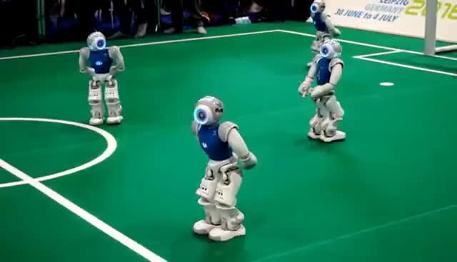 Watch and share Robo Cup | Autonome Roboter Spielen Fußball | Robots Playing Soccer GIFs on Gfycat