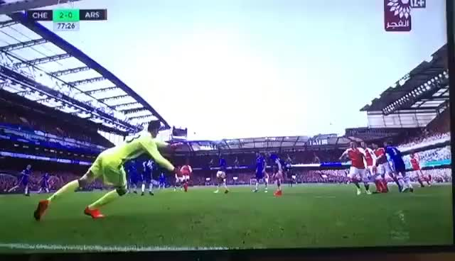 Watch and share Thibaut Courtois Save Vs Arsenal GIFs on Gfycat