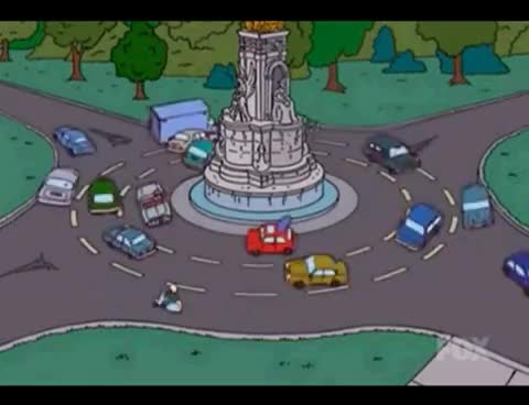 The Simpsons get stuck on a roundabout and nearly kill the Queen of England  GIF c679325c9