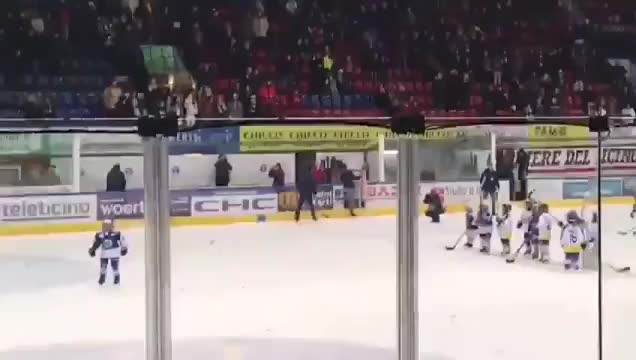 Watch Almost like Carolina - Fans in Switzerland celebrate kids team during intermission with the viking clap GIF by Beep Boop (@hockeyrobotthing) on Gfycat. Discover more hockey GIFs on Gfycat