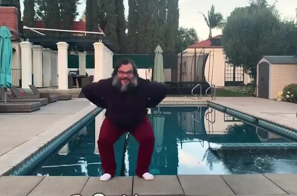 agree, black, boomerang, cold, funny, game, gaming, into, jablinski, jack, jump, lol, pool, say, the, water, yay, yeah, yep, yes, Jack Black - Say Yes GIFs
