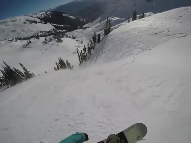 SnowBoarder Rides Out An Avalanche