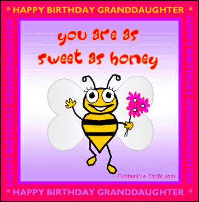 Birthday Card Granddaughter Bee GIF