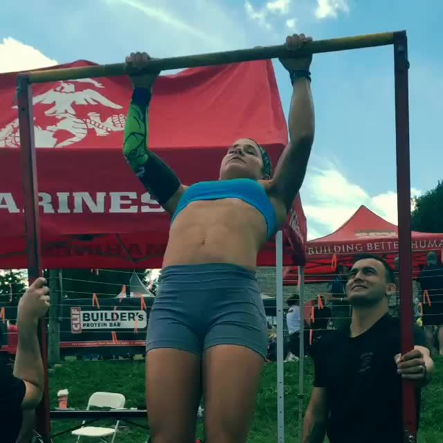 FitAndNatural, fitandnatural, Corinna Coffin cranking out pull-ups after winning a Spartan Super race. (reddit) GIFs