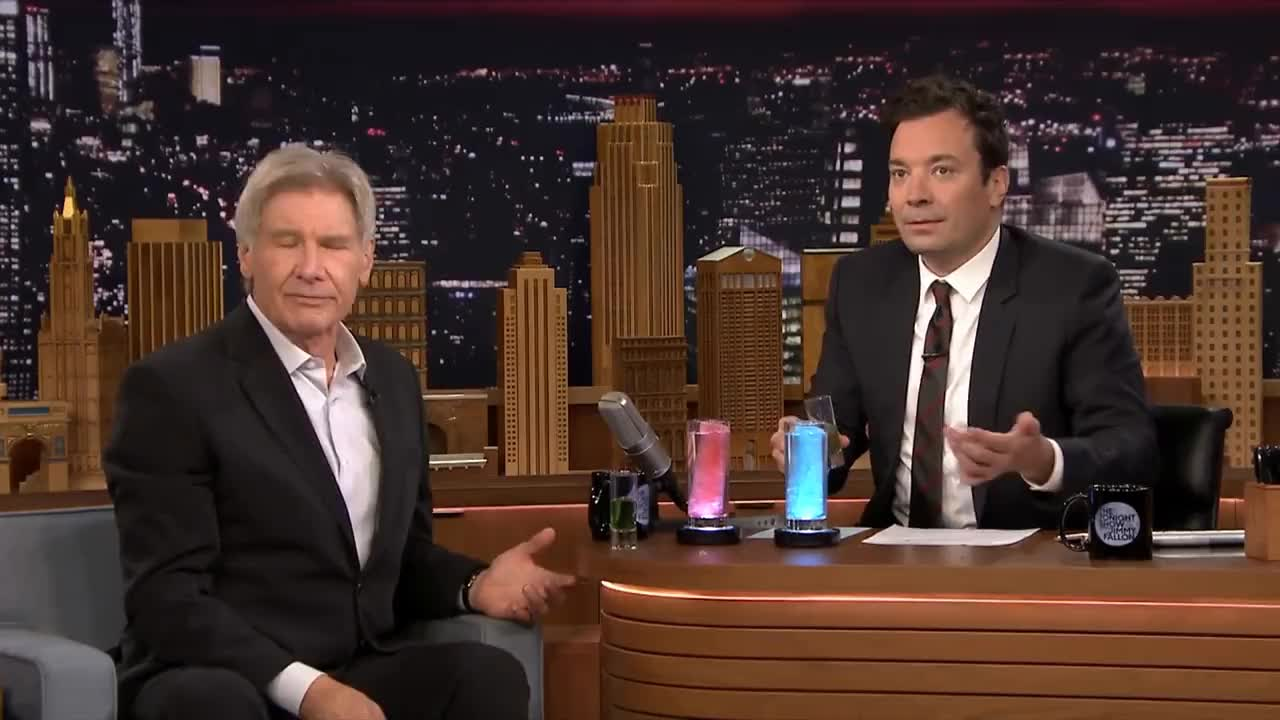 harrison ford, jimmy fallon, Jimmy Surprises Harrison Ford with a Millennium Fallon Drink GIFs