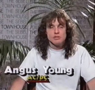AC/DC, Angus Young, Black Sabbath, ac/dc fandom, art, back in black, fashion, film, heavy metal, highway to hell, iron maiden, led zeppelin, megadeth, metallica, music, Angus YoungBeing Candid GIFs