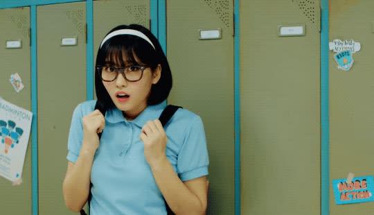 awkward, crush, hello, hi, momo, music video, shy, twice, wave, waving, what is love, Twice - What is Love GIFs