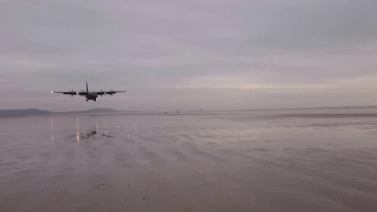 MilitaryGfys, aviationgifs, C130 Beach Landing (reddit) GIFs