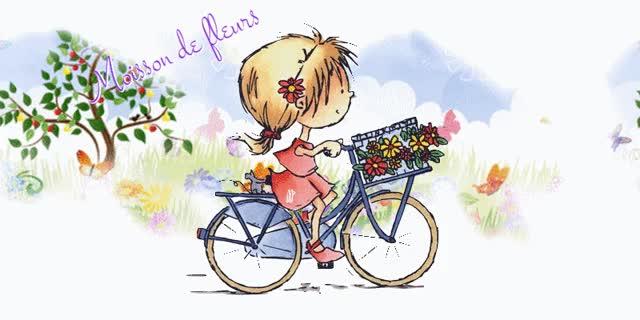 Watch and share Fleurs-printemps-fillette Vélo Animé-paysage Printemps- GIFs on Gfycat