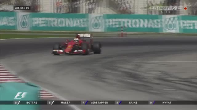 Watch Sebastian Vettel wins his first race in Ferrari - Malaysia 2015 (reddit) GIF by @scooty14 on Gfycat. Discover more formula1gifs GIFs on Gfycat