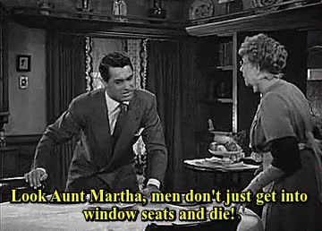 Watch this trending GIF on Gfycat. Discover more 1940s, 1944, arsenic and old lace, cary grant, classic comedy, classic film, classic hollywood, classic movies, comedy, film, frank capra, funny, gif, halloween, halloween gif, horror, horror comedy, jean adair, josephine hull, murder, old hollywood, old movies, one of the most hilarious films I've ever seen, scary, vintage, vintage hollywood GIFs on Gfycat