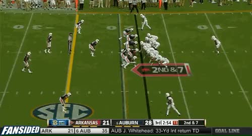 Watch and share Arkansas QB Brandon Allen Throws A Pick-six To Auburn's Jermaine Whitehead  GIFs by mikedyce on Gfycat