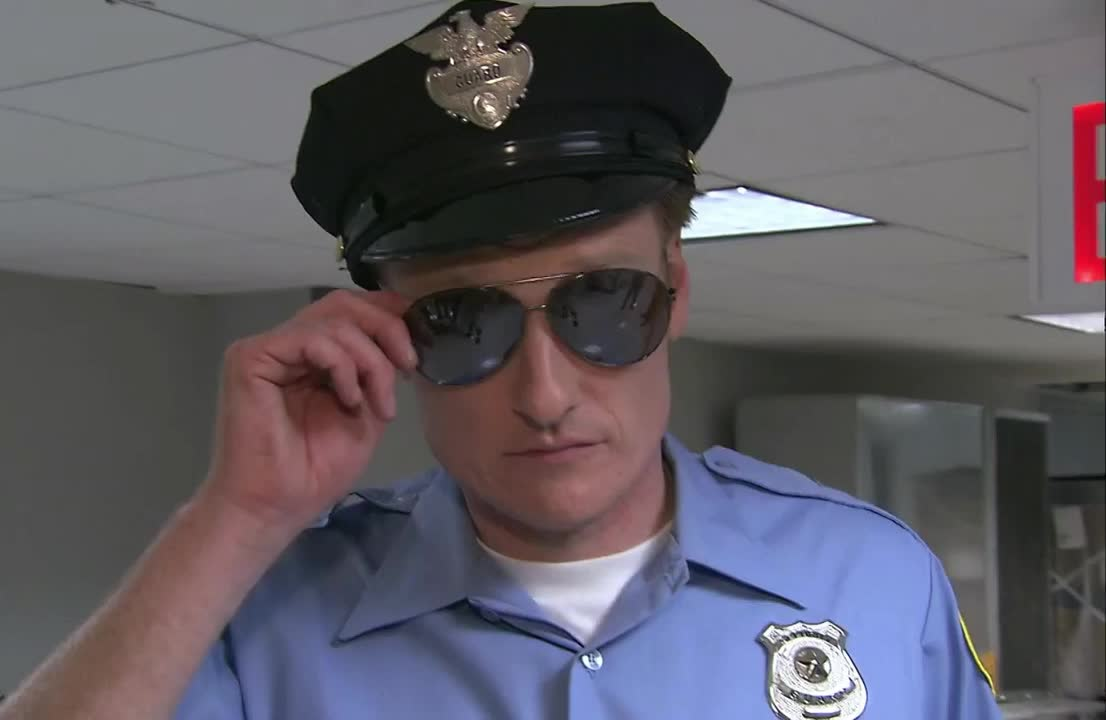 a, check, conan, deal, guard, hat, have, hmm, it, let, look, me, o'brien, obrien, observe, officer, police, security, sunglasses, with, Conan Becomes A Security Guard GIFs