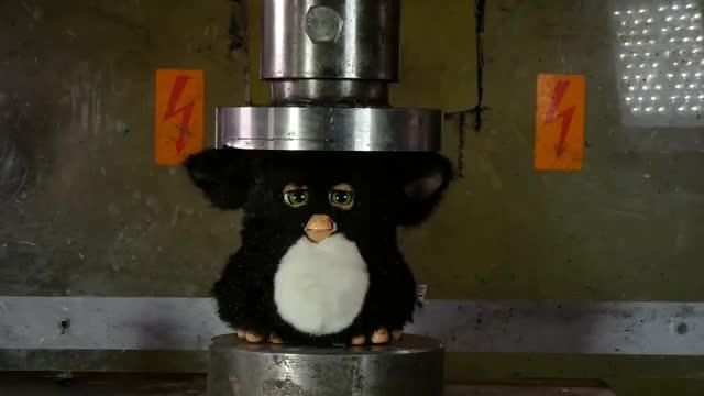 Watch Crushing Furby with Hydraulic Press GIF on Gfycat. Discover more Anni, Furby, HASBRO, Lauri, Lego, crush, destroy, furbies, furbytoy, hydraulic, hydraulicpress, hydraulicpresschannel, press, toys, willitcrush GIFs on Gfycat