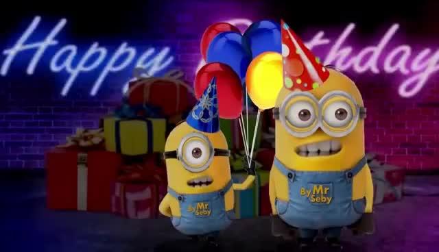 Super Les Minions te souhaitent un Joyeux Anniversaire (2) GIF   Find &FM_88