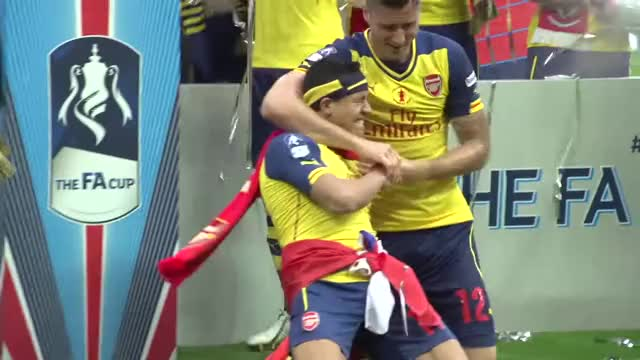 Watch Alexis GIF on Gfycat. Discover more 2015, 4-0, Arsenal, Arsenal F.C. (Football Team), Aston Villa, Celebrations, Cup, FA, FA Cup (Football Competition), Final, Football, Soccer, The Football Association (Sports Association), Wembley, Winners, celebrate, fans, on, pitch GIFs on Gfycat