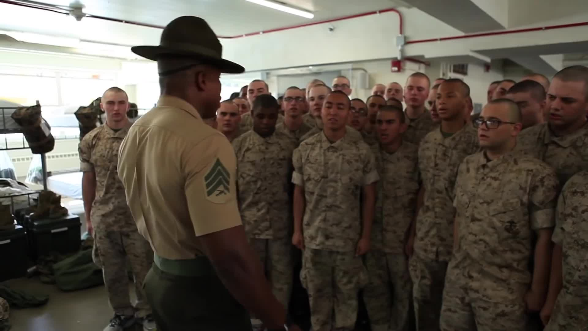 aiirsource military, armed forces, basic training, boot camp, boot camp training, drill instructors, marine corps, marines, military, military exercise, military training, military videos, people & blogs, recruits, us military, usmc, yelling, When you want to be the funny guy at boot camp. GIFs