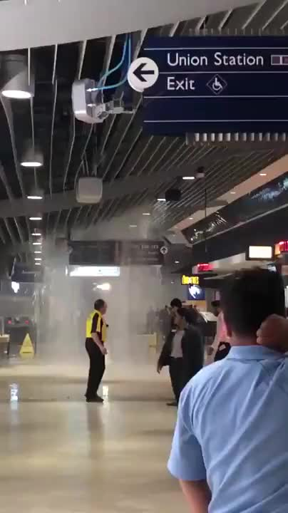 Watch and share Major Flooding At The Maple Leafs' Scotiabank Arena (formerly The Air Canada Centre) In Toronto Yesterday GIFs on Gfycat