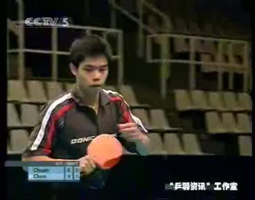 Tabletennis 2003 Open de Suecia Chuan Chih Yuan   ChenQi Semi Final GIFs