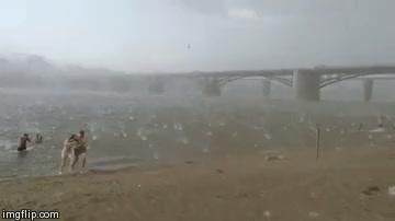 hail storm at beach
