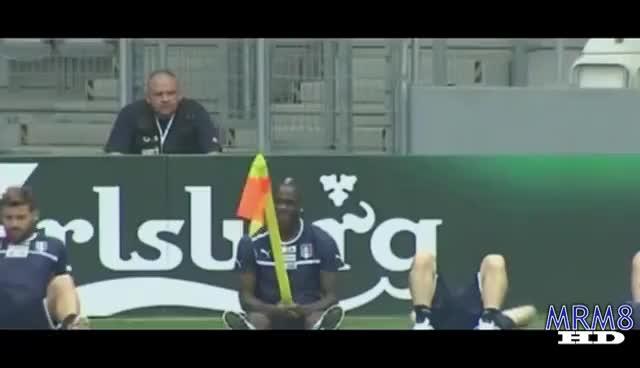 Balotelli funny moment with corner flag EURO2012 GIFs