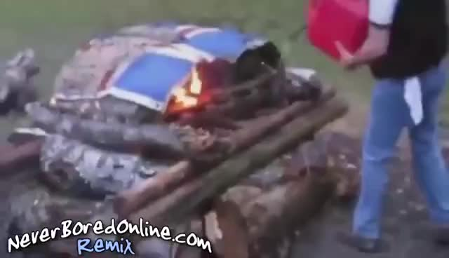 Epic fail pouring gas on fire guy runs with flaming gas can GIFs