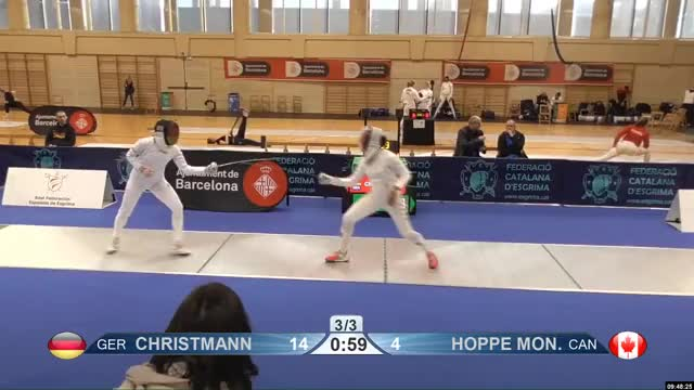 Watch CHRISTMANN 14 GIF by Scott Dubinsky (@fencingdatabase) on Gfycat. Discover more gender: female, leftname: CHRISTMANN, leftscore: 14, rightname: f HOPPE MON, rightscore: 5, time: 00001211, touch: right, tournament: barcelona2019, weapon: epee GIFs on Gfycat