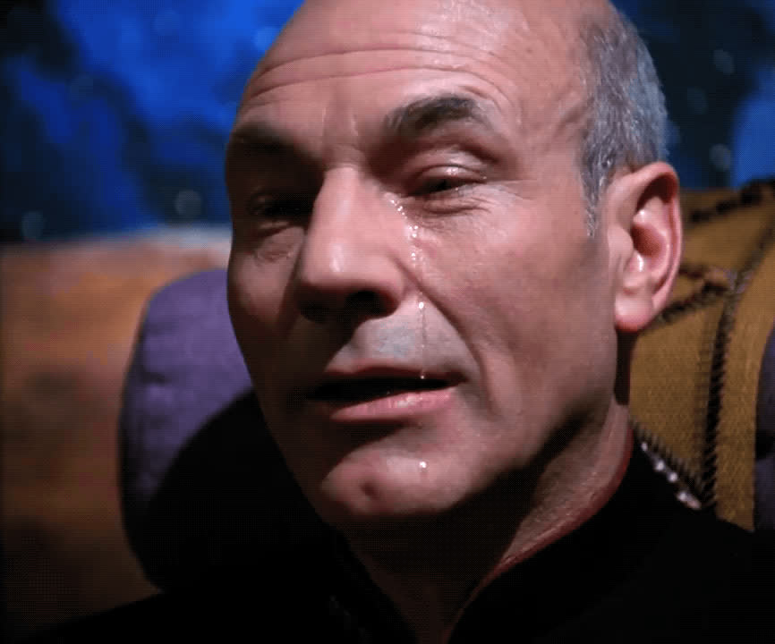 Jean-Luc Picard, crying, patrick stewart, sad, sobbing, star trek the next generation, tears, Picard Crying GIFs