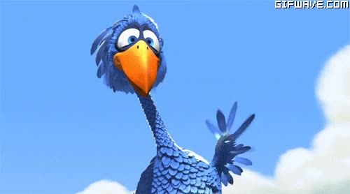 Watch and share Pixar Blue Bird Waving Hello Gif  Tumblr For The Birds GIFs on Gfycat