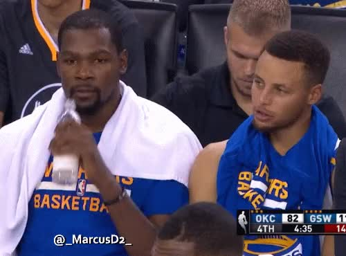 Watch Kevin Durant Steph Curry chatting on the bench GIF by MarcusD (@-marcusd-) on Gfycat. Discover more related GIFs on Gfycat