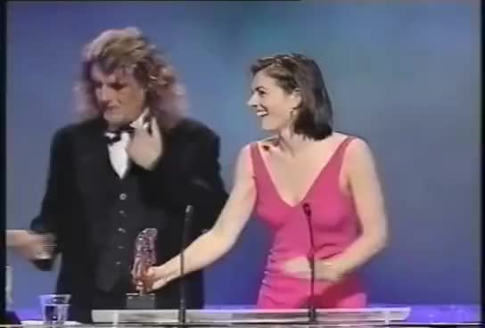 Watch and share Bra-less Liz Hurley Befuddles Billy Connolly At The BAFTAs! GIFs on Gfycat
