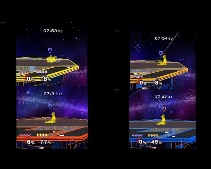 smashbros, Falco DSmash avoiding some getup attack hitboxes (reddit) GIFs