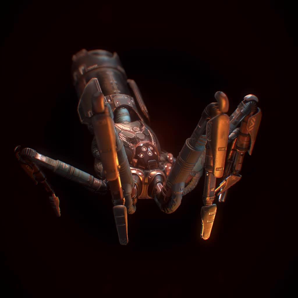 ai, god, hardsurface, robot, videogame, virtualreality, godAIOne_walk08_gold GIFs