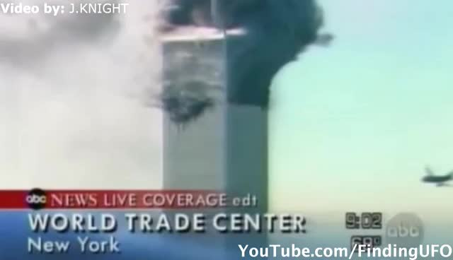 UFOs on 9/11 World Trade Center in New York - FindingUFO GIFs