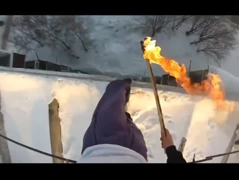 getmotivated, lights, russian, Russian acrobat lights himself on fire, jumps off roof then gets arrested GIFs