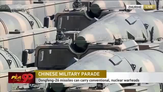 Watch Military parade: Dongfeng-26 strategic ballistic missile formation GIF on Gfycat. Discover more cctvnews, cgtn, news GIFs on Gfycat