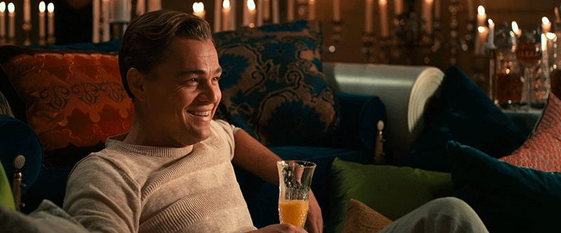leogifs, pics, Laughing [The Great Gatsby 2013 Jay Gatsby Leonardo DiCaprio mimosa druck] (reddit) GIFs