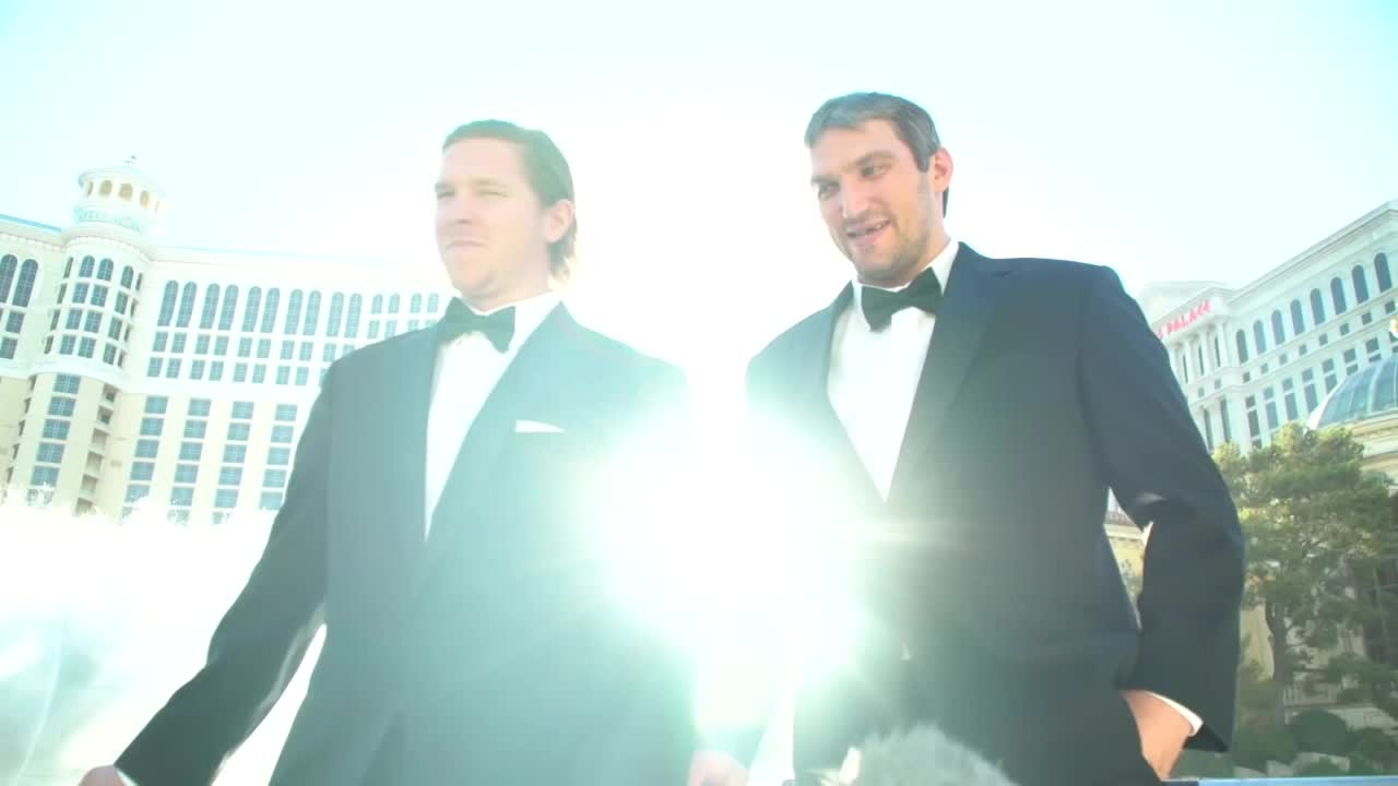 Ovechkin and Backstrom model their shoes during filming of 2018 NHL Awards fountain skit GIFs