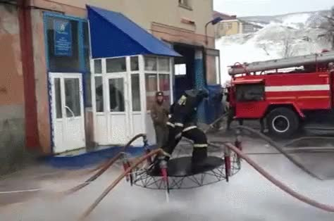 Watch Fire-fighters make a hover-board from water and a trampoline. (reddit) GIF on Gfycat. Discover more beamazed, interestingasfuck GIFs on Gfycat