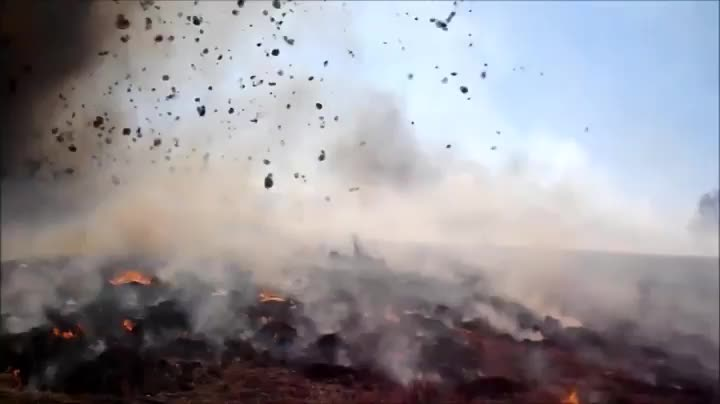 nature, Dust devil wanders into a wildfire, sending hundreds of tumbleweeds spinning through the air GIFs