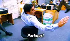 Watch the office parkour GIF on Gfycat. Discover more related GIFs on Gfycat