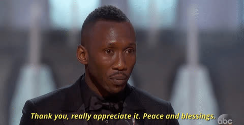 appreciation, mahershala ali, peace and blessing, thank you, thanks, The Oscars GIFs