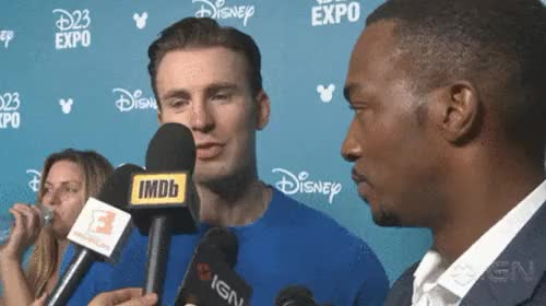 Watch this anthony mackie GIF on Gfycat. Discover more anthony mackie, cacw, captain america, captain america civil war, chris evans, civil war, d23 expo, gif, marvel cast, microphone, my edit, the falcon GIFs on Gfycat