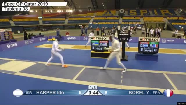 Watch HARPER Ido r 6 GIF by Scott Dubinsky (@fencingdatabase) on Gfycat. Discover more gender:, leftname: HARPER Ido r, leftscore: 6, rightname: BOREL Y, rightscore: 8, time: 00029347, touch: left, tournament: doha2019, weapon: epee GIFs on Gfycat