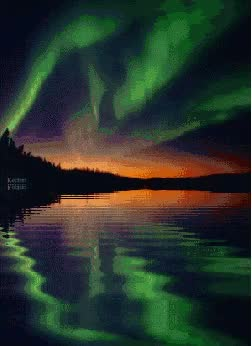 Watch and share Aurora Borealis Northern Lights Reflection In Water animated stickers on Gfycat